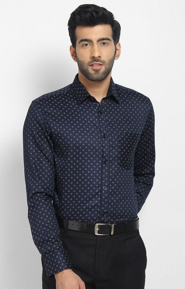 Cape Canary | Blue Printed Cotton Formal Shirt