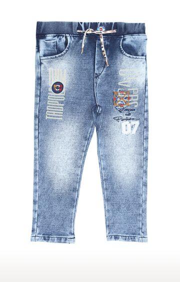 Tadpole | Blue Printed Regular-Fit Jeans