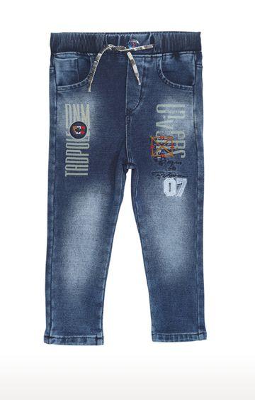 Tadpole   Blue Printed Regular-Fit Jeans