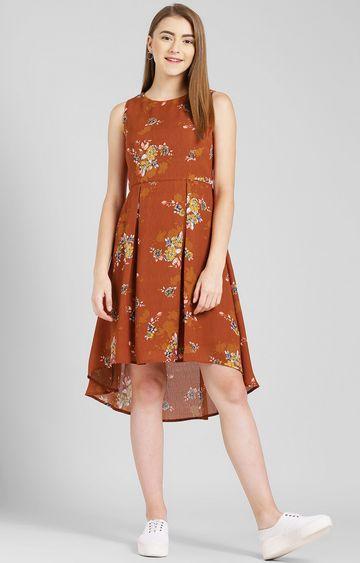 Zink London   Rust Floral Asymmetric Dress