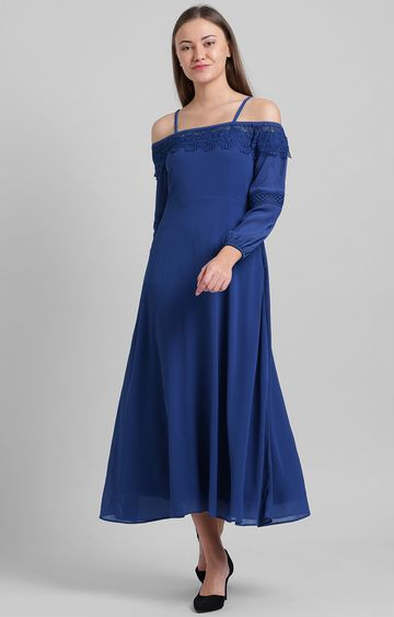 Zink London | Blue Embroidered Maxi Dress