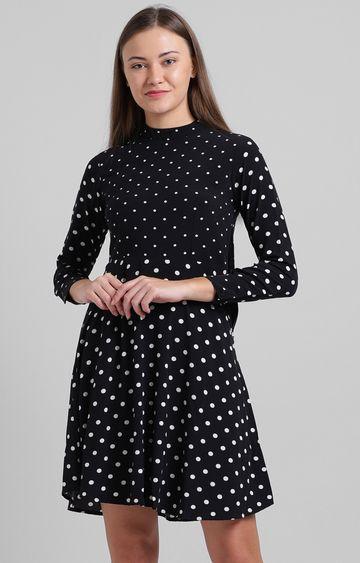 Zink London   Black Polka Dots Skater Dress