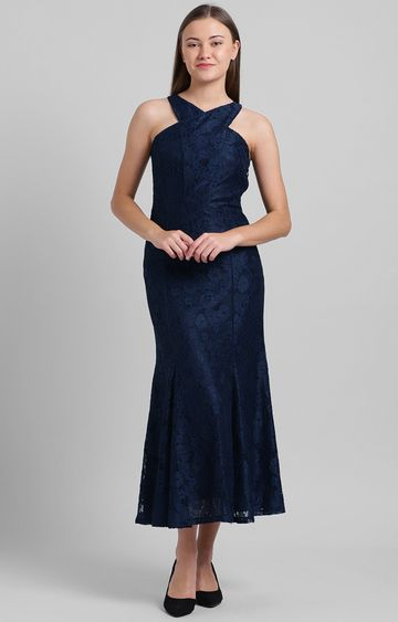 Zink London   Navy Embroidered Maxi Dress