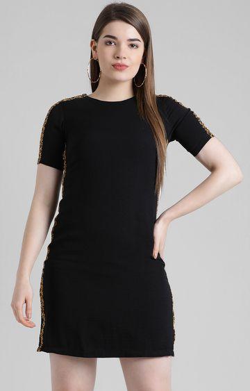 Zink London   Black Solid Shift Dress