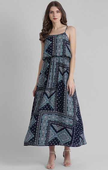 Zink London | Navy Printed Maxi Dress
