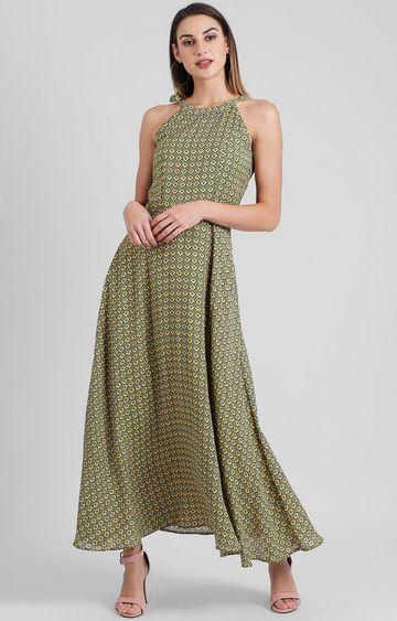 Zink London   Green Printed Maxi Dress