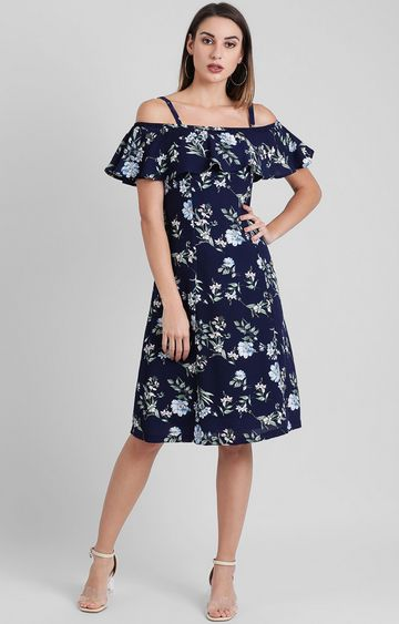 Zink London | Navy Floral Skater Dress