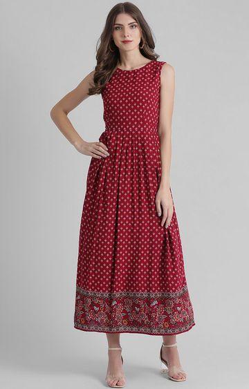 Zink London   Maroon Printed Maxi Dress