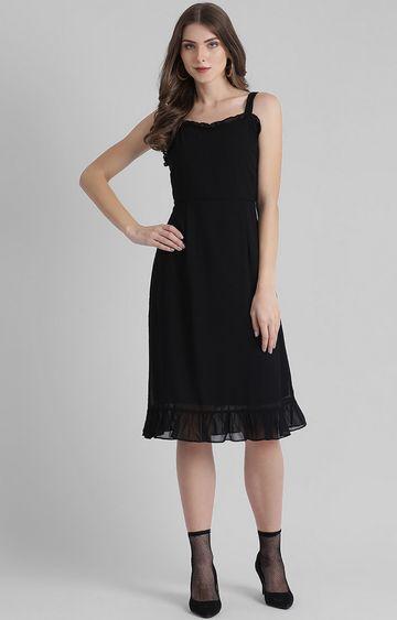 Zink London | Black Solid Skater Dress