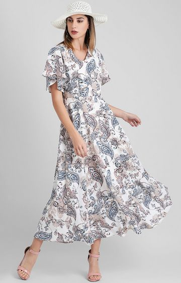 Zink London | White Printed Maxi Dress