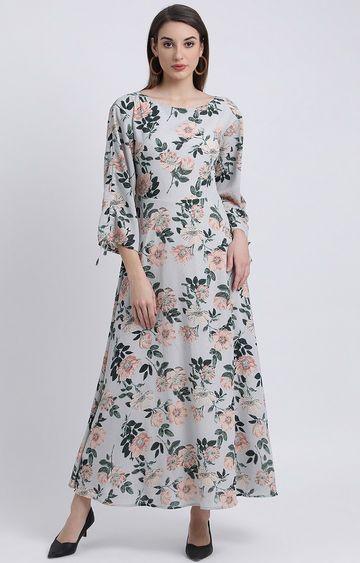 Zink London | Grey Floral Maxi Dress