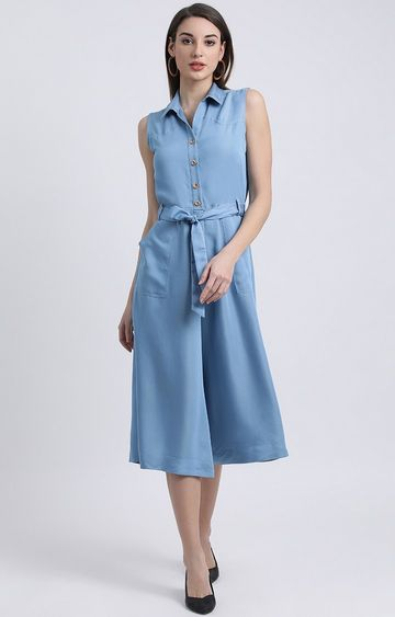 Zink London | Blue Solid Jumpsuit