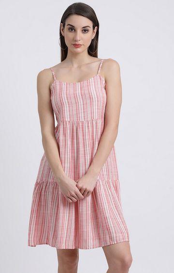 Zink London | Pink Striped Skater Dress