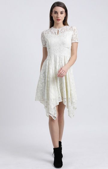 Zink London | White Embroidered Asymmetric Dress
