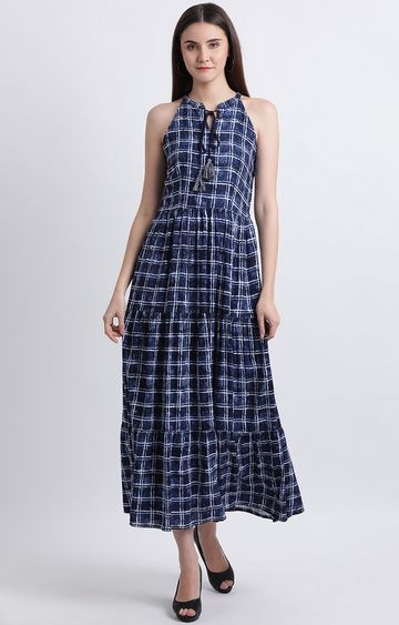 Zink London | Blue Checked Maxi Dress