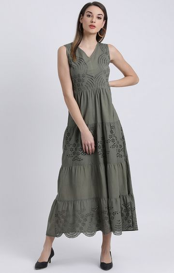 Zink London | Green Embroidered Maxi Dress
