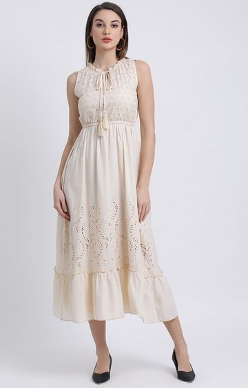 Zink London | Cream Embroidered Maxi Dress