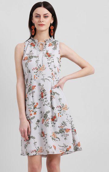 Zink London | Grey Floral Skater Dress