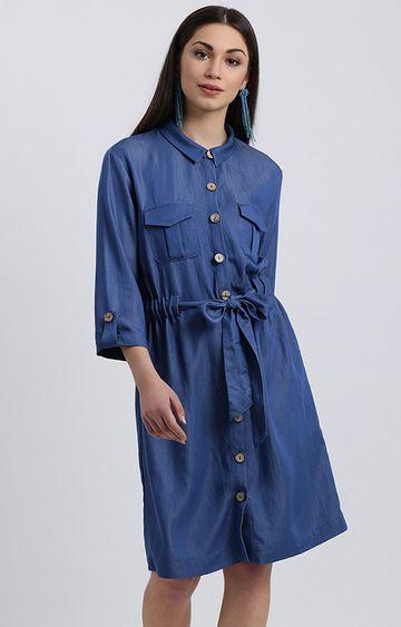 Zink London | Blue Solid Shirt Dress