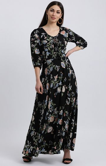 Zink London | Black Floral Maxi Dress