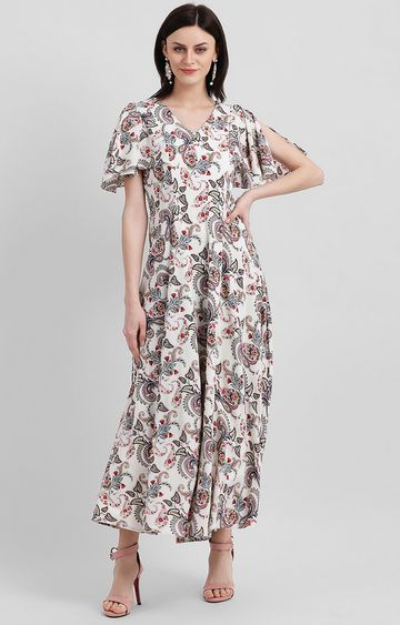 Zink London   Beige Printed Maxi Dress