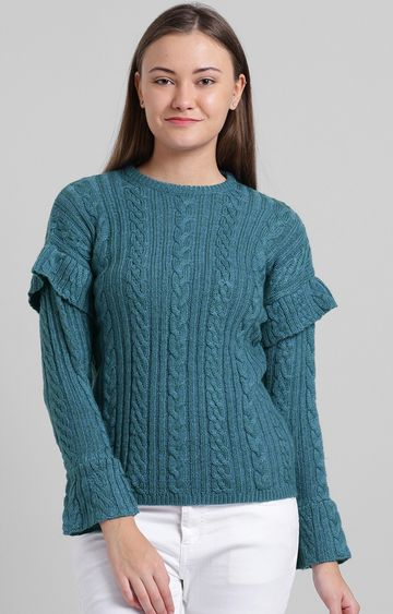 Zink London | Teal Solid Sweater