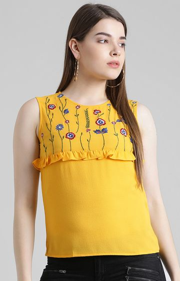 Zink London   Mustard Embroidered Top