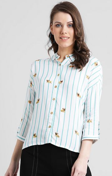 Zink London | Off White Printed Casual Shirt