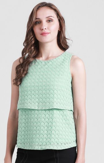 Zink London | Sea Green Printed Top