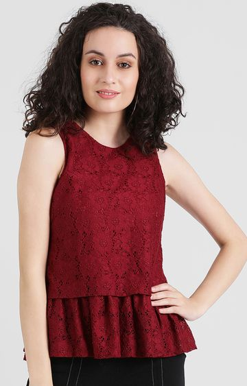 Zink London | Red Embroidered Peplum Top
