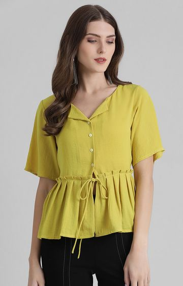 Zink London   Lime Green Solid Peplum Top