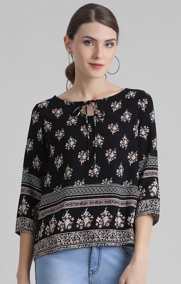 Zink London | Black Printed Top