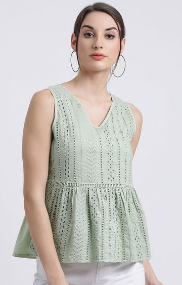 Zink London | Green Embroidered Peplum Top