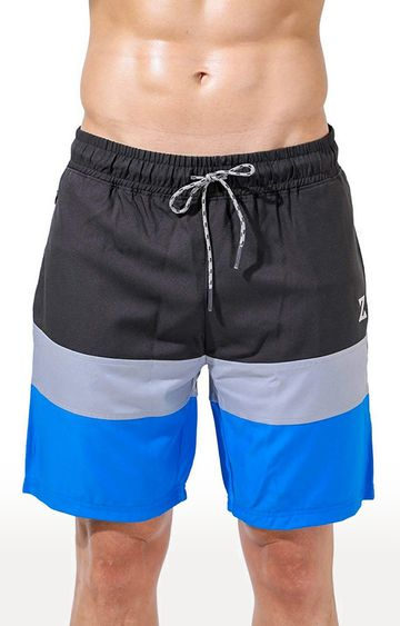 Azani | Black and Blue Colourblock Shorts