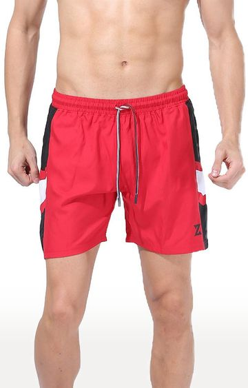 Azani | Red and Black Colourblock Shorts