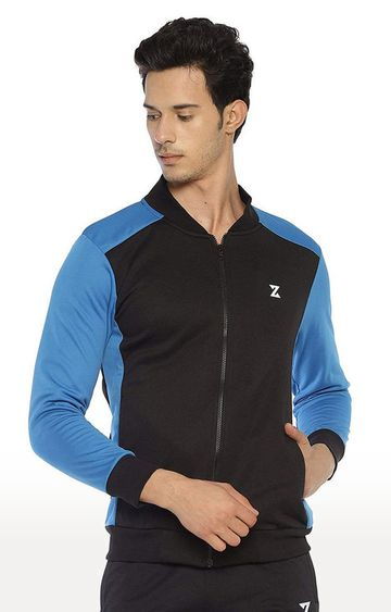Azani | Black and Scuba Solid Activewear Jacket