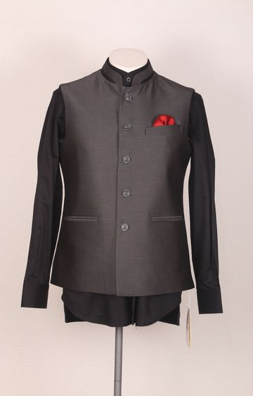 Ethnix by Raymond   Black Solid Bundi Jacket