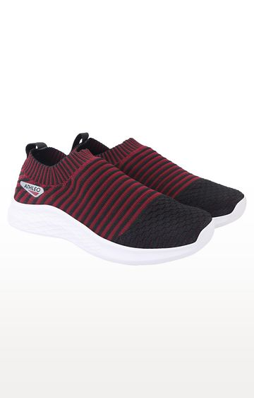 ATHLEO by Action | Maroon and Black Running Shoes