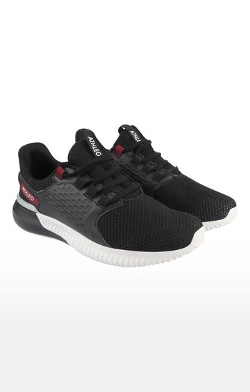 ATHLEO by Action | Black and Maroon Sports Shoes