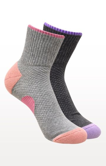 BALENZIA | Light Grey and Dark Grey Printed Socks - (Pack of 2)