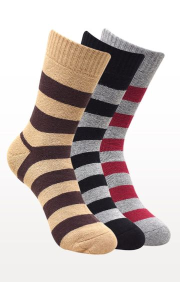 BALENZIA | Multicoloured Striped Socks - (Pack of 3)