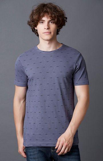 MARCA DISATI   Nightshade Blue Printed T-Shirt