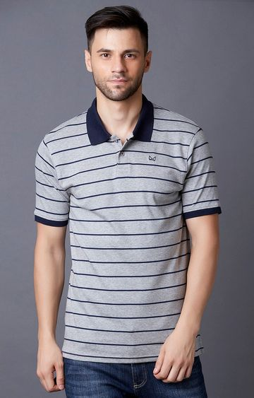 MARCA DISATI | Grey Striped Polo T-Shirt