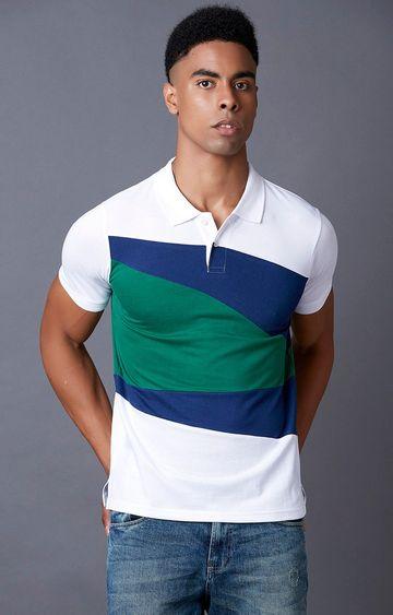MARCA DISATI | White Colourblock Polo T-Shirt