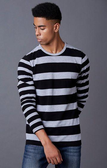 MARCA DISATI | Grey Melange and Black Striped T-Shirt