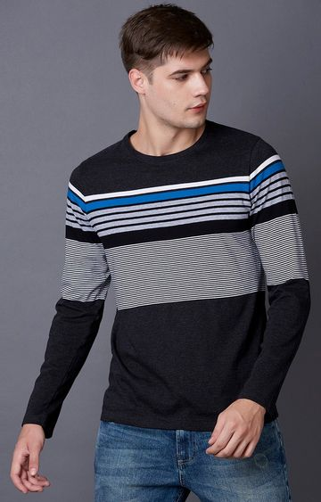 MARCA DISATI | Anthra Melange Striped T-Shirt