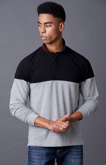 MARCA DISATI | Grey Melange Colourblock Polo T-Shirt