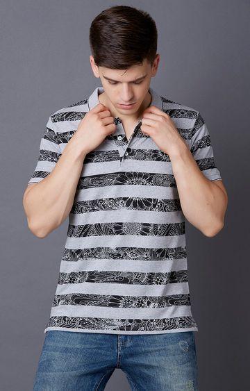 MARCA DISATI | Grey Melange Striped Polo T-Shirt