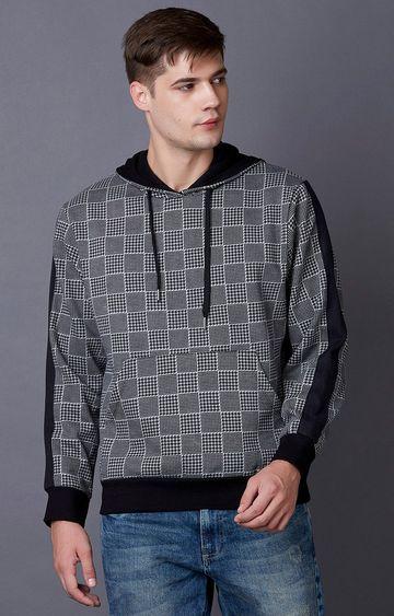 MARCA DISATI | Grey Melange Printed Hoodie