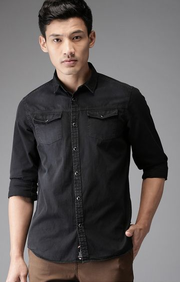 The Bear House | Black Solid Casual Shirt